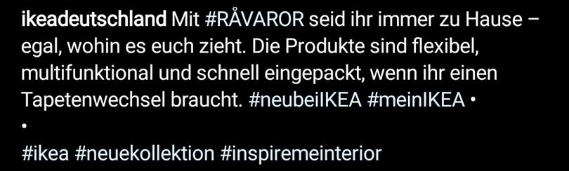 Instagram Hashtag Beispiel: ikea