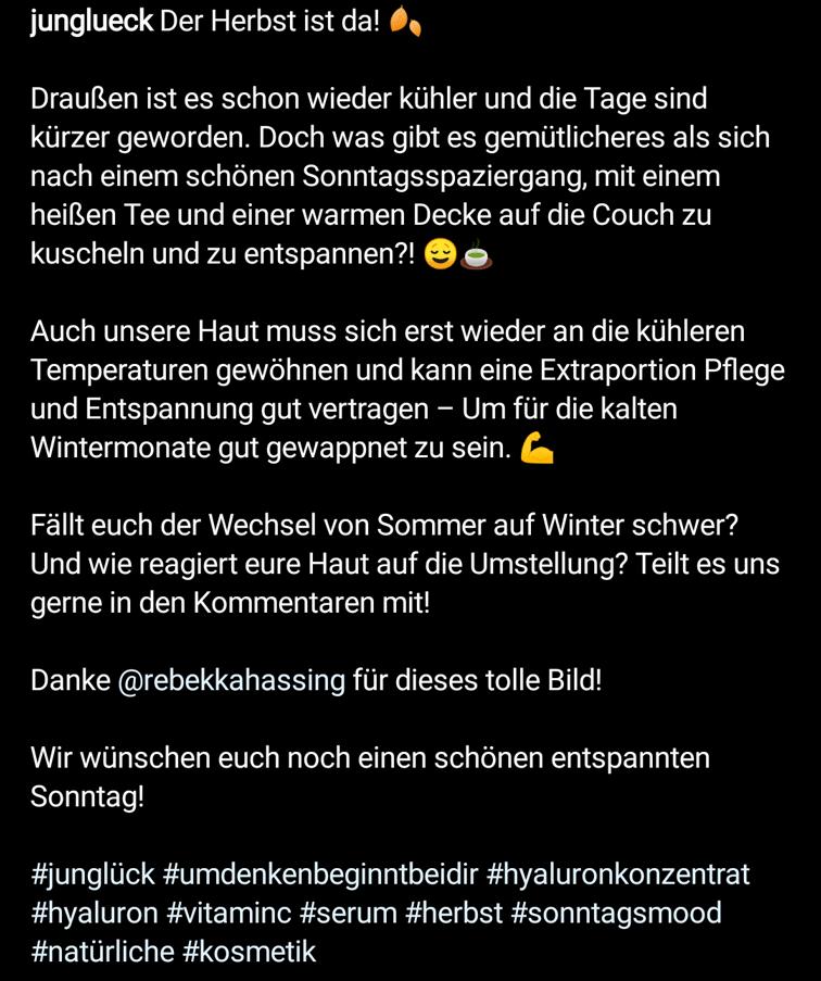 Instagram Hashtag Beispiel: junglueck