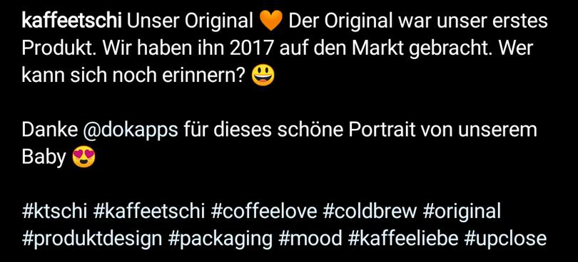 Instagram Hashtag Beispiel: kaffeetschi