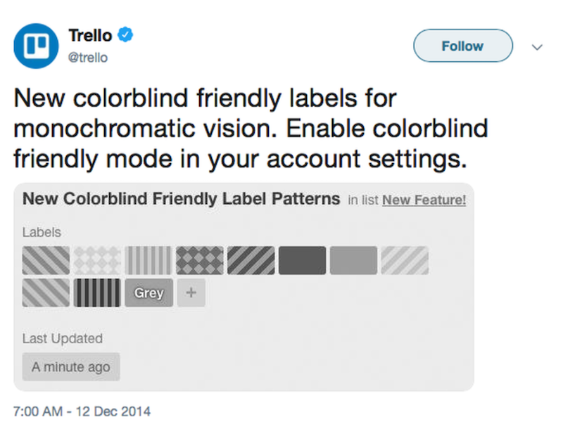 Trello arbeitet mit Mustern anstatt mit Farben