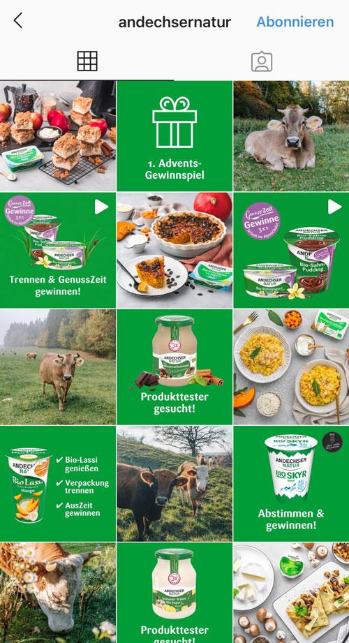 Andechser postet abwechselnd Bilder von Essen oder aus der Natur und Produktvorstellungen auf grünem Hintergrund.