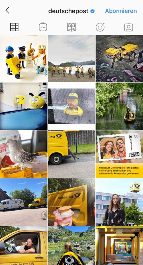 Das Gelb der Deutschen Post zieht sich durch jeden Beitrag und trägt wesentlich zum harmonischen Farbschema im Instagram Feed bei.