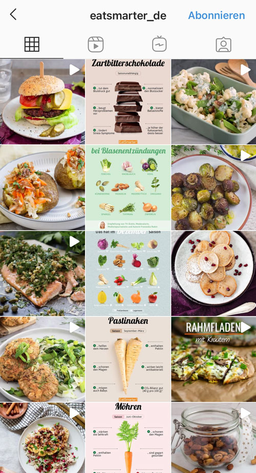 EatSmarter verbindet im Feed Fakten mit Bildern von leckeren Gerichten.