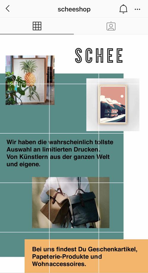 """Kölner Designladen Schee interpretiert den Feed als EIN Content-Piece: Sie haben über die einzelnen Beiträge eine große """"Landingpage"""" zusammengestellt, die Infos über den Laden gibt."""