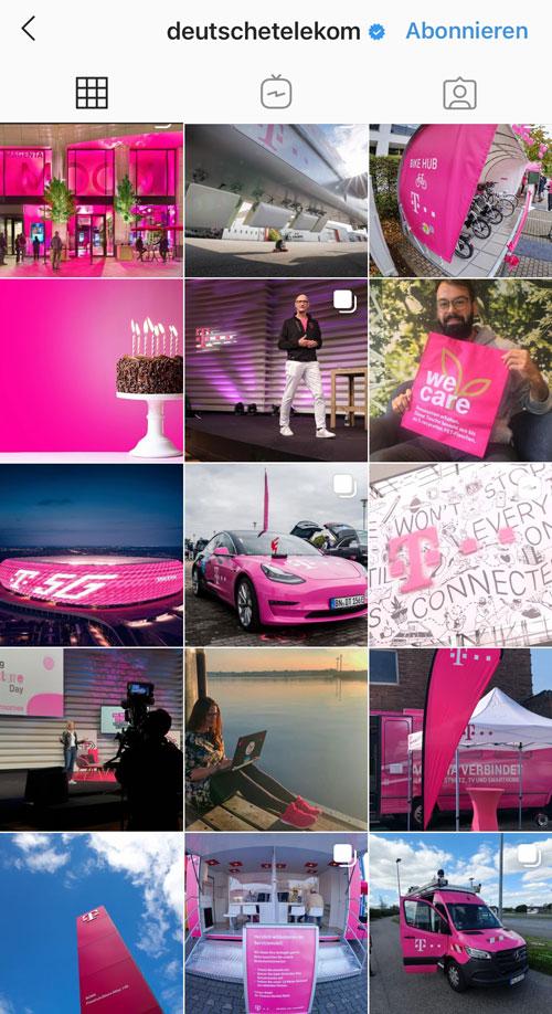 Das prominente Magenta der Telekom findet sich natürlich auch in ihrem Instagram Feed wieder.