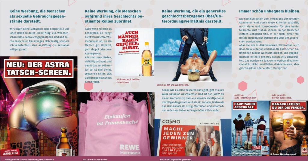 Ein Flyer von Pinkstinks und dem FC Sankt Pauli. Er informiert über sexistische Werbung und zeigt anhand von Beispielen auf, wieso bestimmte Werbung problematisch ist.
