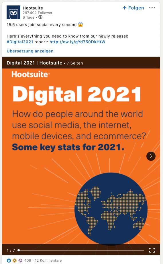 MarTech Marketing: Hootsuite LinkedIn Beitrag