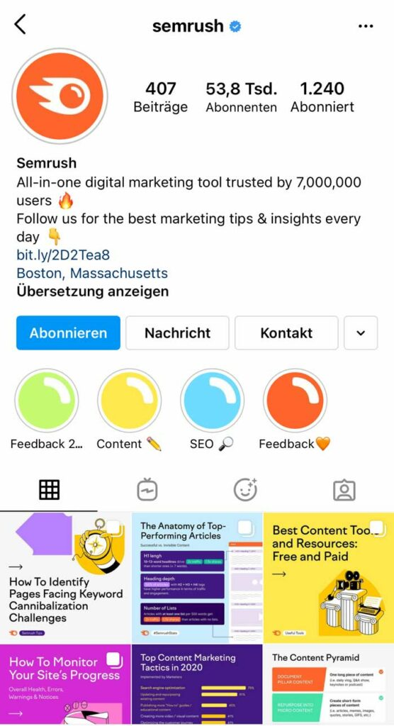 MarTech Marketing: Semrush Instagram