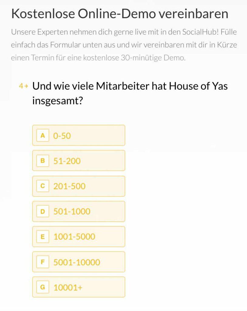 MarTech Marketing: SocialHub Formular