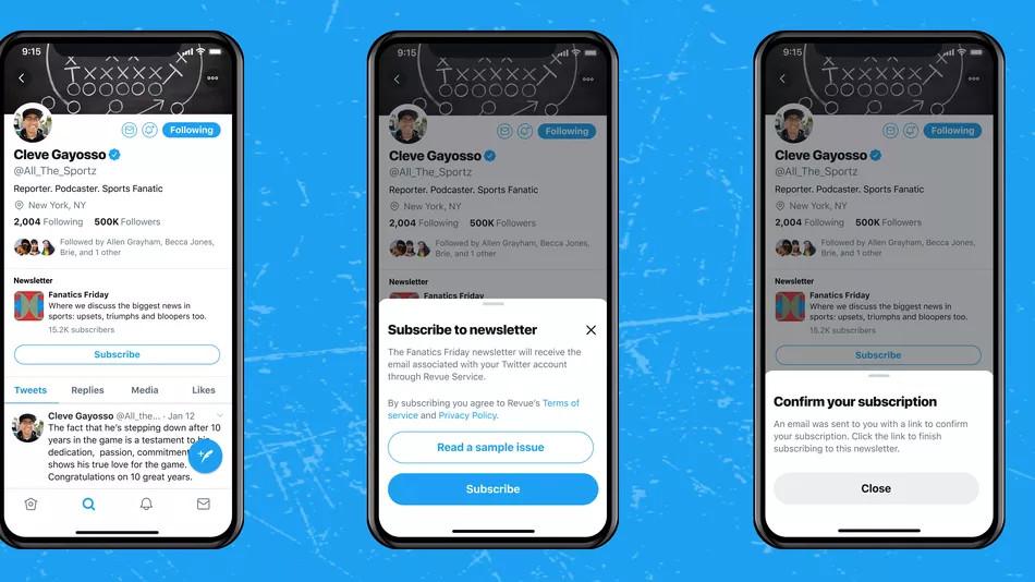 Twitter: Newsletter-Button im Profil